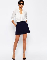 Asos Tailored Short With Gathered Waist Navy