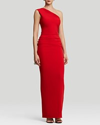 Nicole Bakti Gown One Shoulder Ruffle Back Red