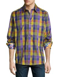 Robert Graham Smooth Stones Diamond Woven Shirt Blue
