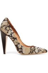 M Missoni Leather And Metallic Crochet Knit Pumps Multi
