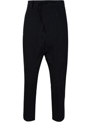 Chapter Drop Crotch Tapered Trousers Black