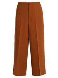 Marni Double Faced Wool Crepe Culottes Brown