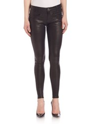 Current Elliott The Welt Leather Pocket Ankle Skinny Jeans Moonless