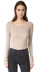Enza Costa Long Sleeve Rib Tee Khaki