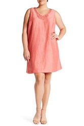 Nic Zoe Jetset Linen Blend Shift Dress Plus Size Pink