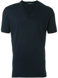 Dolce And Gabbana V Neck T Shirt Blue