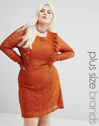 Alice And You Allover Lace Skater Dress With Frilled Bib Detail Orange Brown