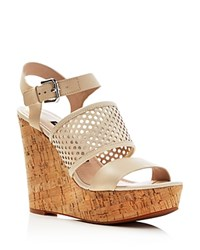 French Connection Devi Cork Platform Wedge Sandals Barley Sugar