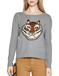 French Connection Tiger Embroidered Sweater Grey