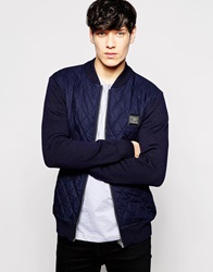 Voi Jeans Bomber With Polyester Quilted Front Body Navy