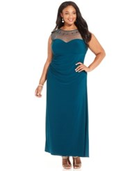 Patra Plus Size Illusion Embellished Gown Emerald