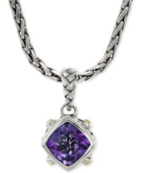 Effy Collection Effy Amethyst Pendant Necklace In Sterling Silver And 18K Yellow Gold 3 1 2 Ct. T.W.