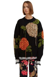 Msgm Oversized Destroyed Floral Knit Sweater Black