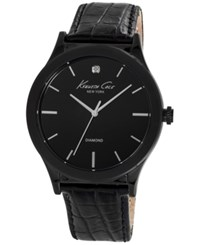 Kenneth Cole New York Men's Diamond Accent Black Leather Strap Watch 44Mm 10024367