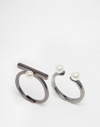 Pilgrim Hematite Plated Adjustable Ring Set With Faux Pearl Hematite Plated Silver