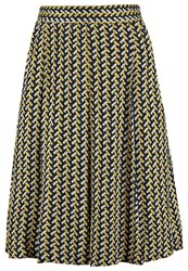 Louche Ritz Aline Skirt Navy Mustard Dark Blue