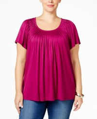 Styleandco. Style Co. Plus Size Short Sleeve Pleated Top Magenta Blossom