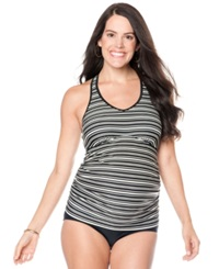 Motherhood Maternity Striped Racerback Tankini Top