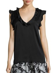 Zimmermann Winsome Silk Ruffle Tank Top Black