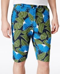 American Rag Men's Tropical Print Flat Front Shorts Only At Macy's Deep Black