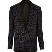 River Island Mens Navy Pattern Slim Fit Blazer
