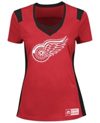 Majestic Women's Detroit Red Wings Draft Me T Shirt Red Black
