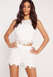 Missguided Flower Lace Shorts White White