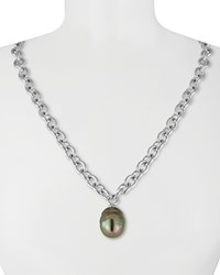 Majorica Simulated Pearl Pendant Necklace 16 Grey