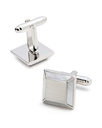 Bloomingdale's The Men's Store At Brushed Square Cufflinks White Silver