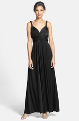 Women's Dessy Collection Convertible Front Twist Jersey Gown Black