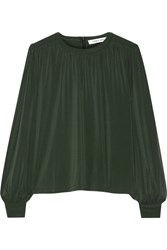 Elizabeth And James Juniper Gathered Stretch Jersey Blouse Forest Green