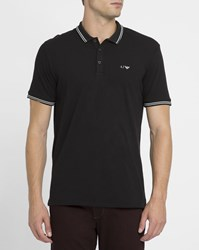 Armani Jeans Black Cotton Pique Ls Slim Fit Polo Shirt With White Trim And Chest Logo