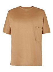 Topman Lux Camel Pique Textured Turtle Neck T Shirt Brown