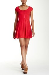Just For Wraps Cap Sleeve Ribbed Fit And Flare Dress Red