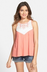Frenchi Embroidered Lace Swing Tank Juniors Orange