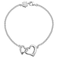 Dower And Hall Sterling Silver Entwined Love Hearts Bracelet Silver