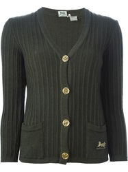 Celine Vintage Ribbed V Neck Cardigan Green