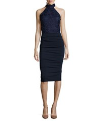 Nicole Bakti Sleeveless Lace Halter Sheath Dress Navy