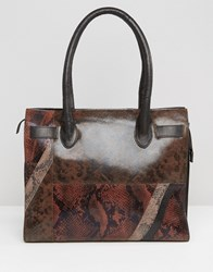 Urbancode Faux Snakeskin Leather Mix Tote Bag Snake Brown