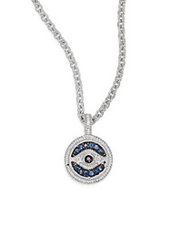 Judith Ripka Lucky Blue White And Black Sapphire Evil Eye Small Pendant Necklace Silver Blue