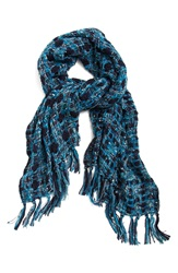 Renees Accessories Plaid Woven Wrap Denim Blue Washed White