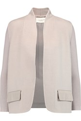 Halston Wool Blend Felt And Ribbed Knit Blazer Gray