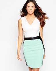 Hybrid Midi Dress With V Neck And Contrast Waisband And Panels Green