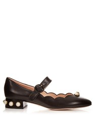 Gucci Willow Faux Pearl Embellished Leather Ballet Pumps Black