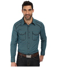 Rock And Roll Cowboy Long Sleeve Snap B2s2135 Turquoise Men's Long Sleeve Button Up Blue
