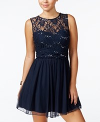 Speechless Juniors' Sequined Lace A Line Dress Midnight