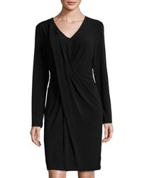 Tahari By Arthur S. Levine Jersey Front Gathered Dress Black