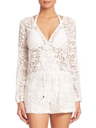Parker Eric Lace Romper Coverup White