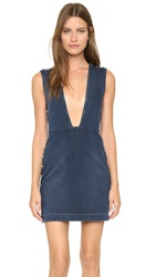 Mcq By Alexander Mcqueen Deep V Neck Denim Dress Studded Vintage Wash
