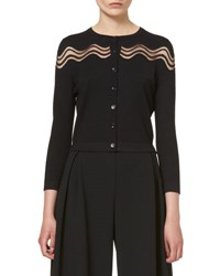 Carolina Herrera Wavy Illusion Knit Cardigan Black